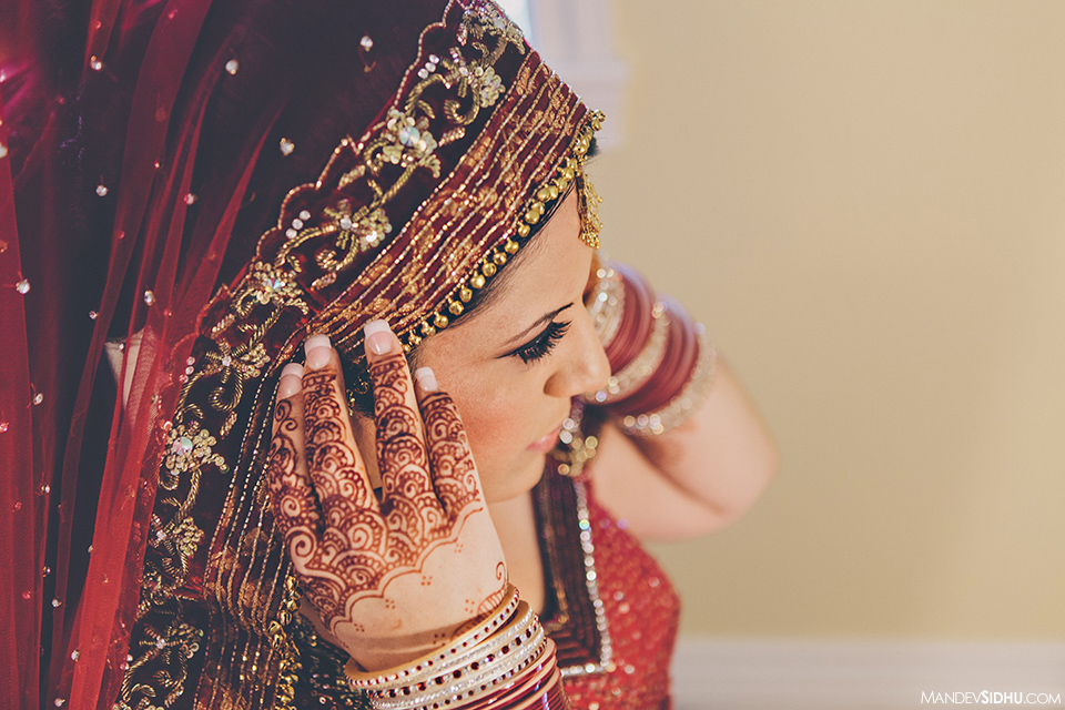 Red Lengha and Hand Mehndi