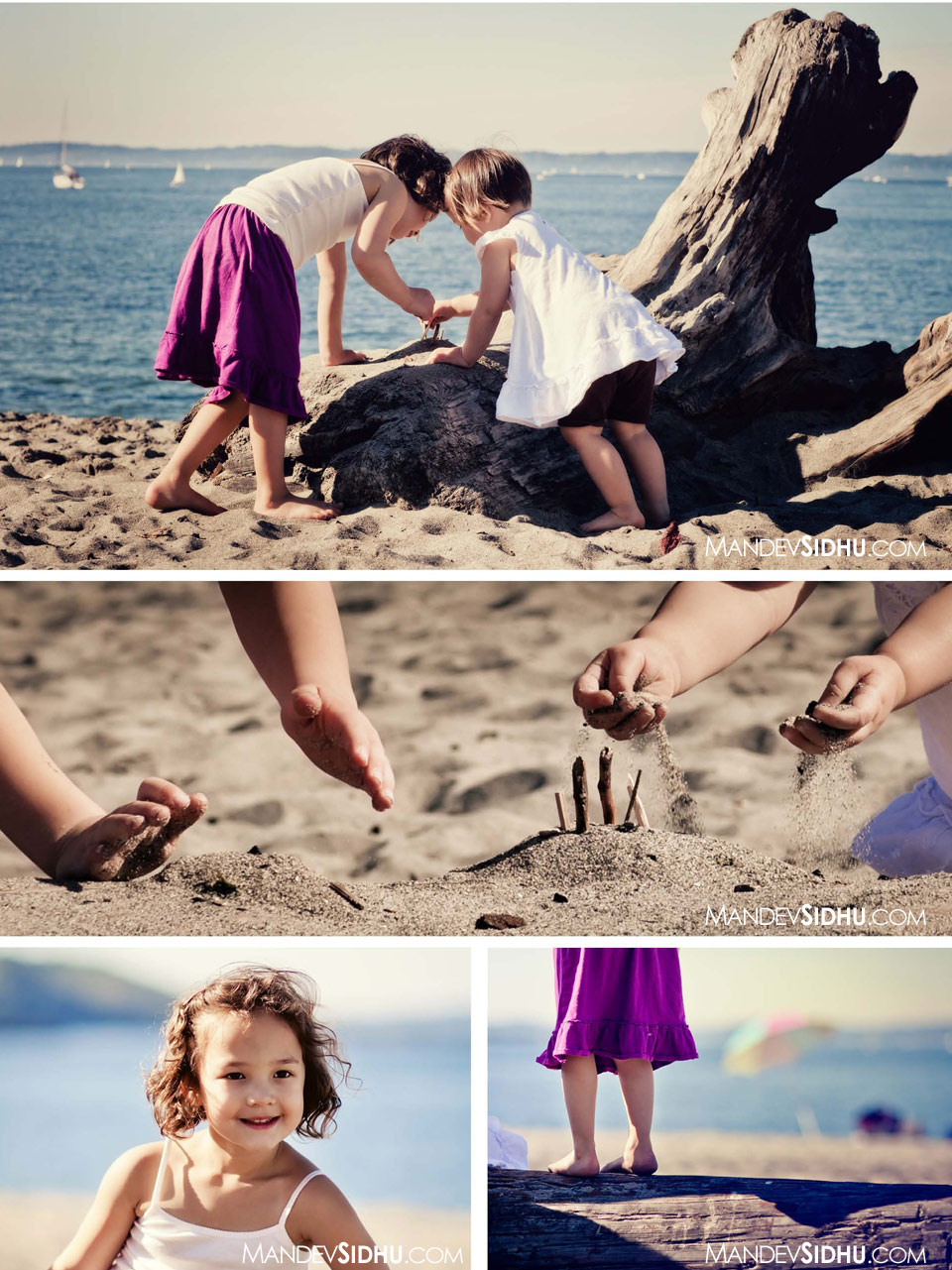 Girls playing with sand