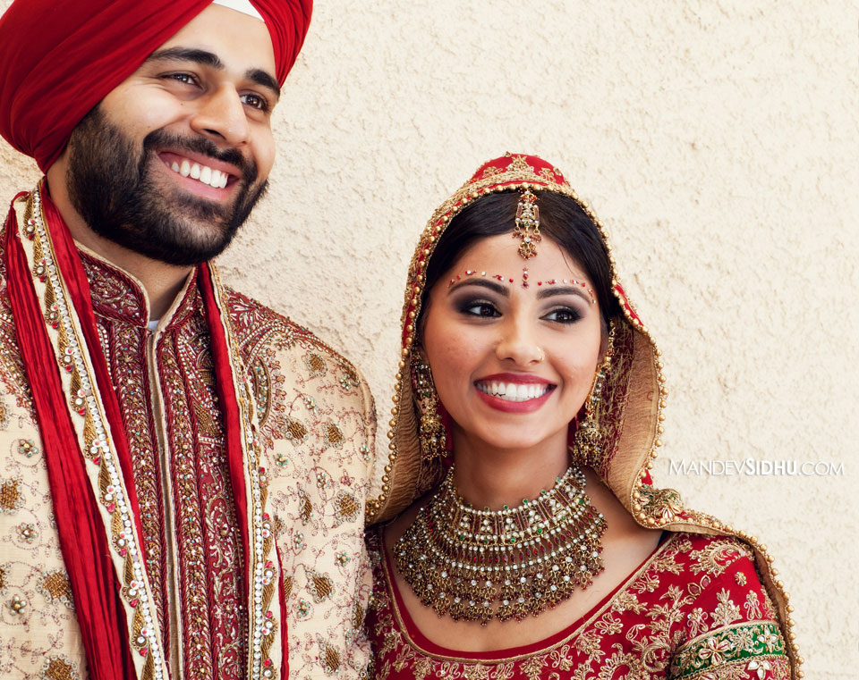Happy Sikh Bride and Groom