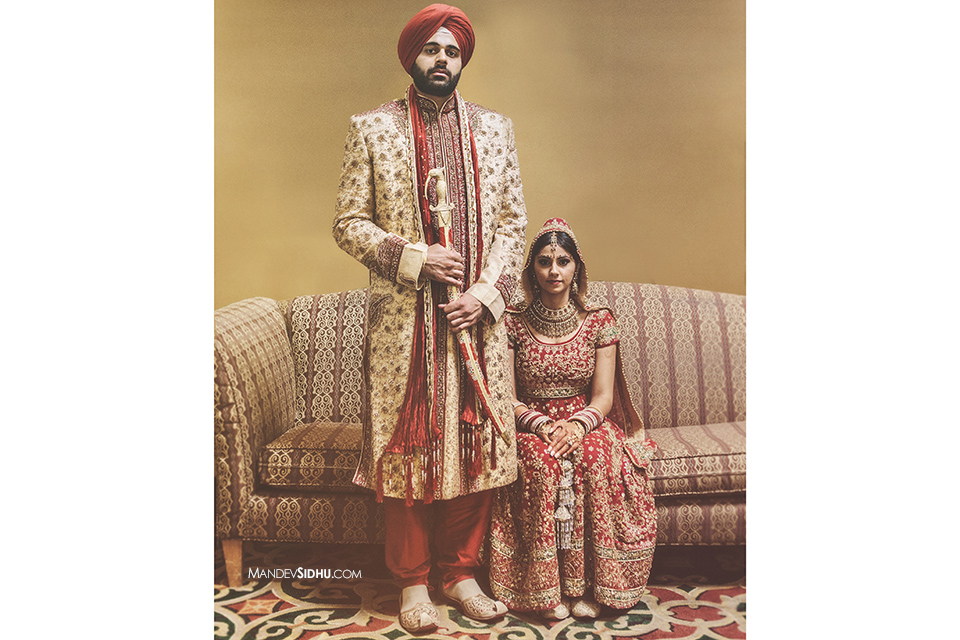 Vintage photo of a Sikh Indian bride and groom