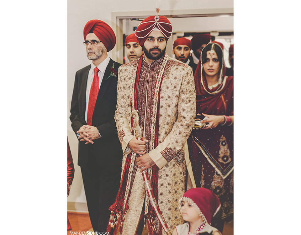 Sikh groom entering the prayer hall