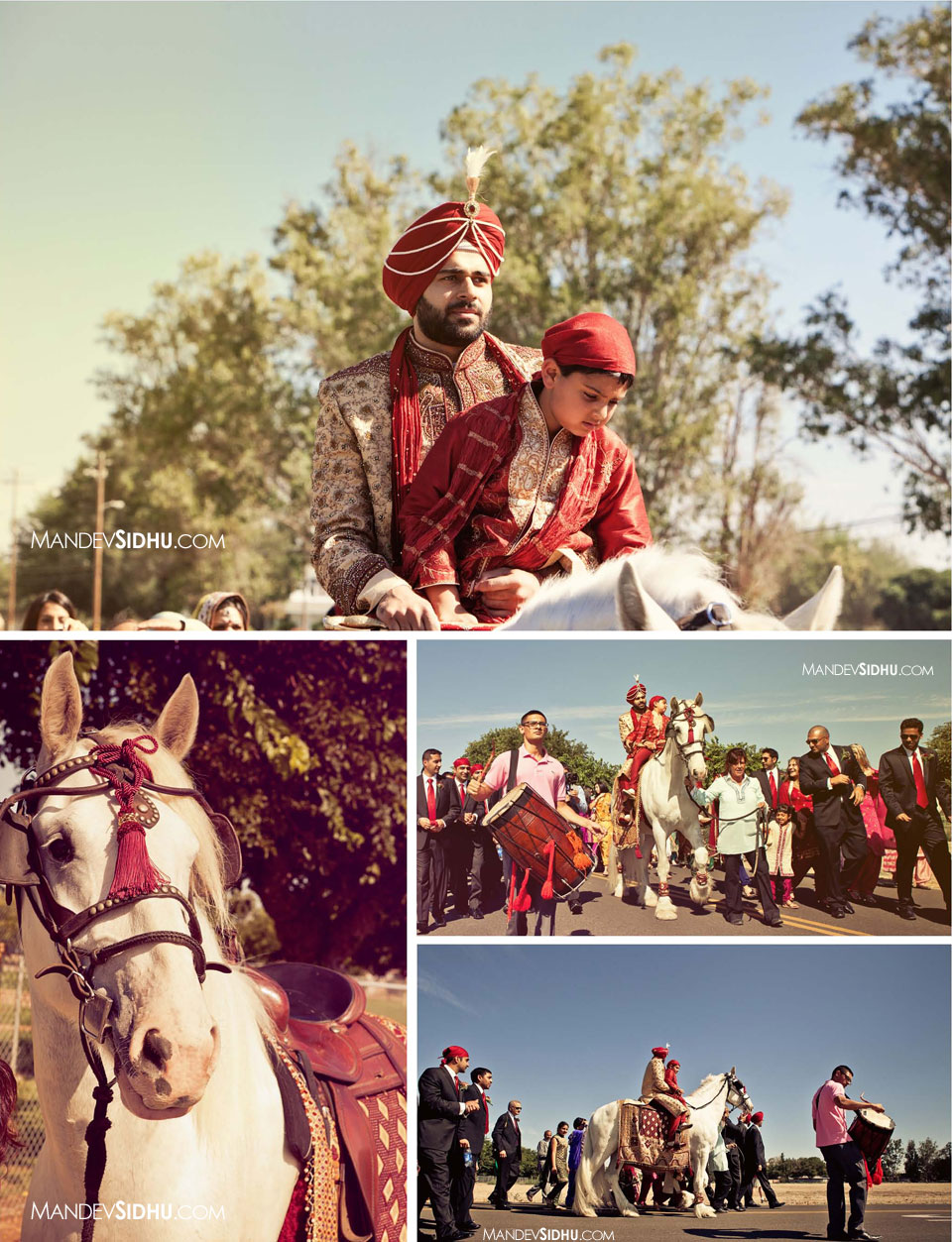 baraat is going to the gurdwara with groom on white horse
