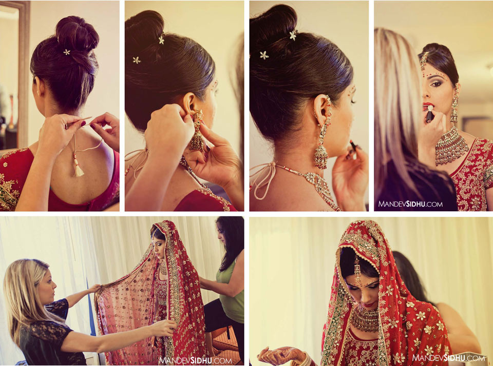 Putting on the lehenga and earrings