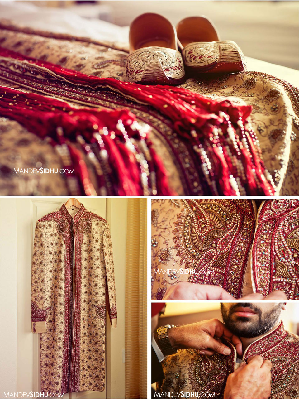 Mick's outfit for the wedding- sherwani and shoes