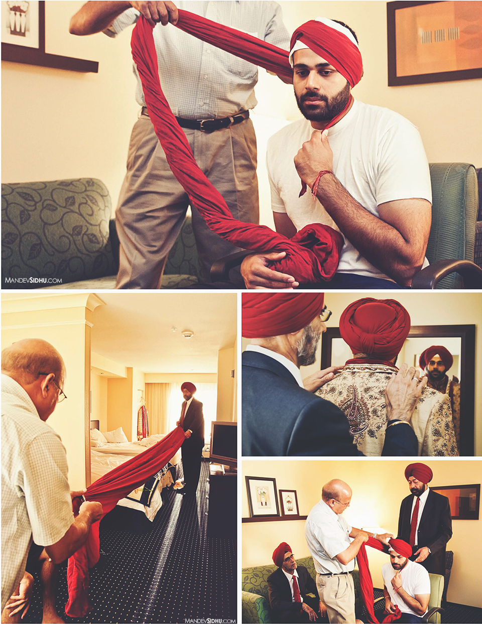 Tying the red turban on groom