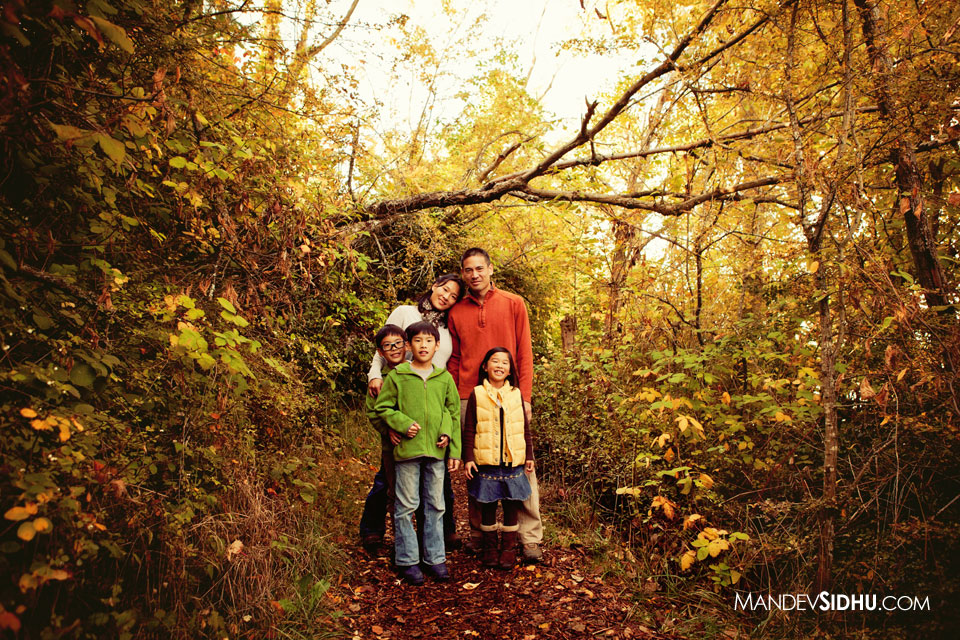 Family Photo taken in the trees at Luther Burbank Park