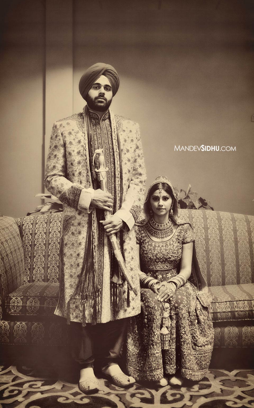 Vintage-style Sikh Bride and Groom