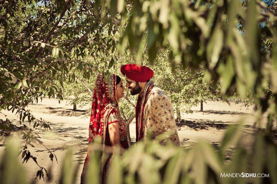 Sikh Bride and Groom lean in for a kiss