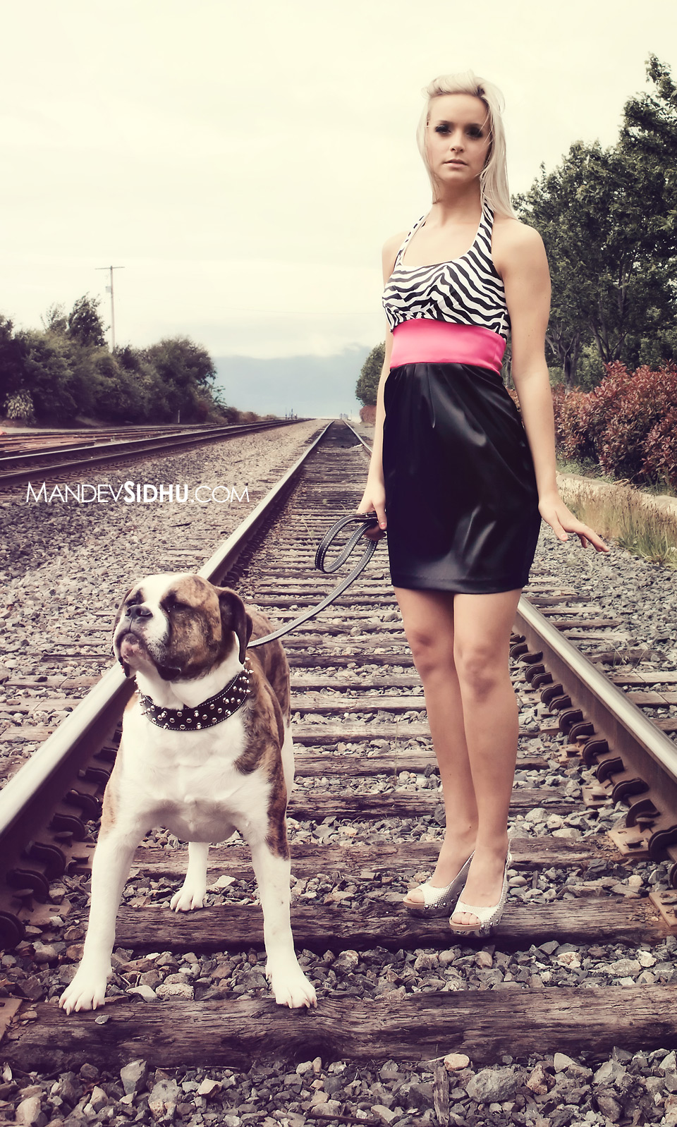 Professional Bellingham model photograph on railroad tracks