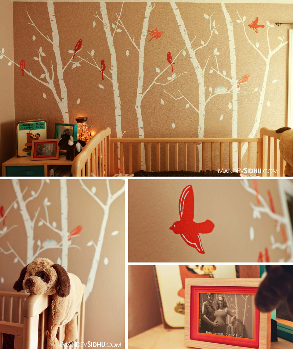 DIY baby room hand-painted walls white trees red birds