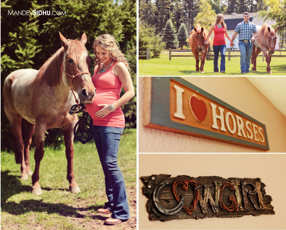beautiful mother holds belly and stands next to brown horse for country style maternity photos. couple walks with two horses