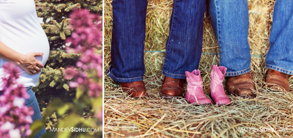 cute pink cowgirl boots for baby girl next to mother and father's cowboy boots
