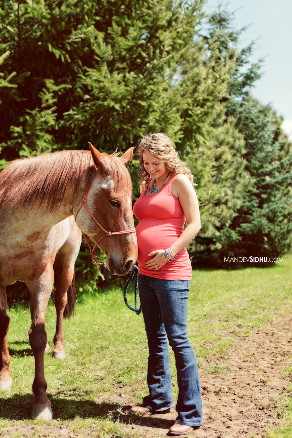 beautiful mother holds belly next to horse for this country-style maternity photo session