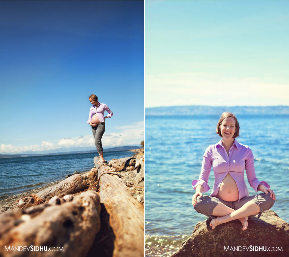 seattle maternity photography mother sitting on a rock, and standing on log at the beach
