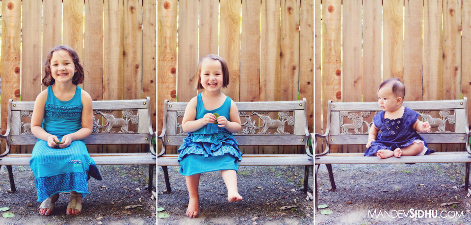 individual photographs of three sisters sitting on a bench