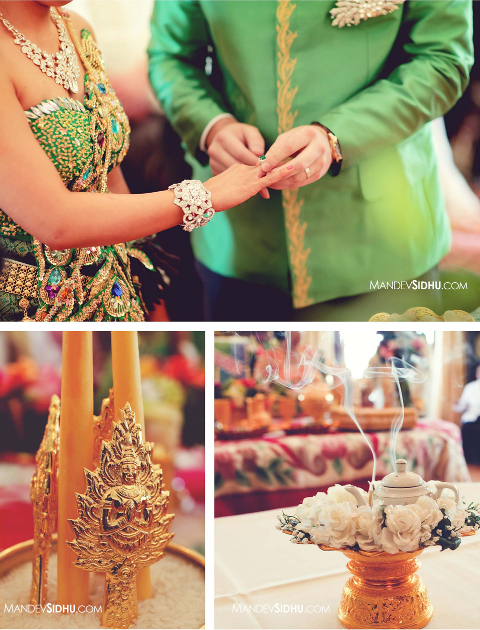 Cambodian bride and groom exchange rings at Khmer wedding ceremony