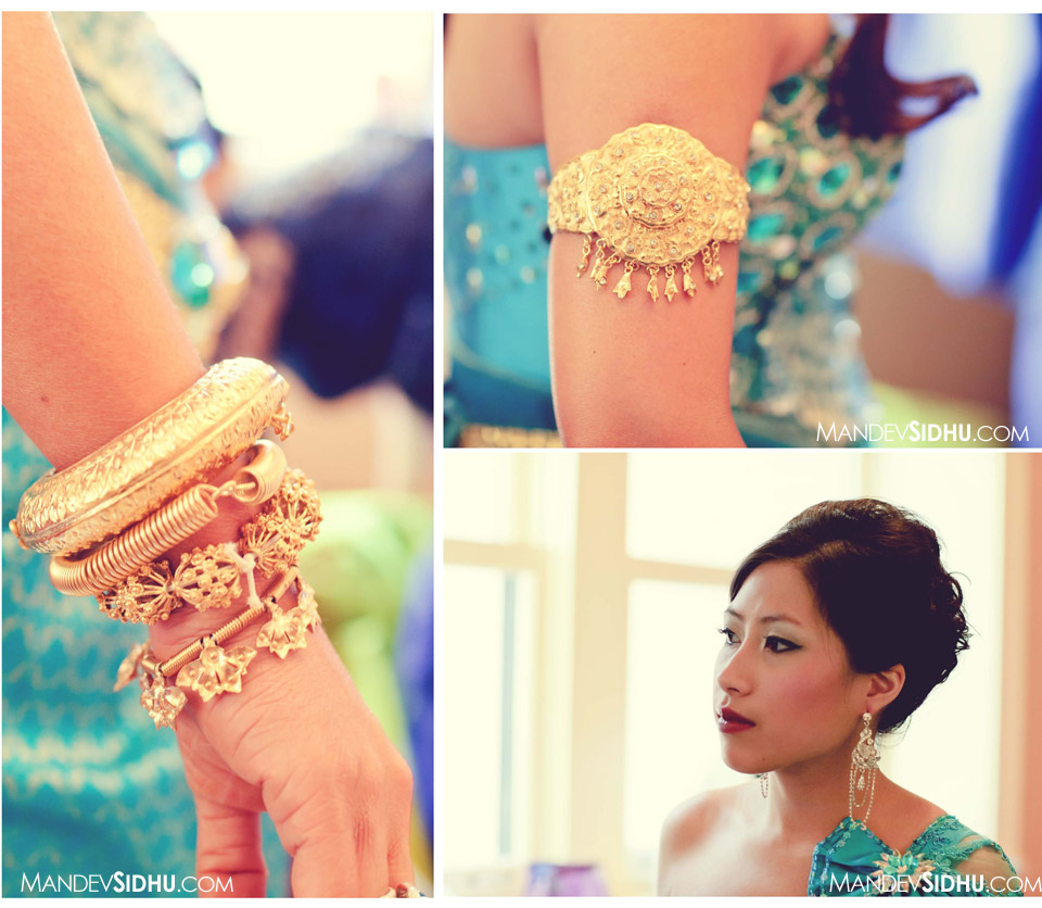 Cambodian Bride wears gold jewelry and traditional blue silk dress