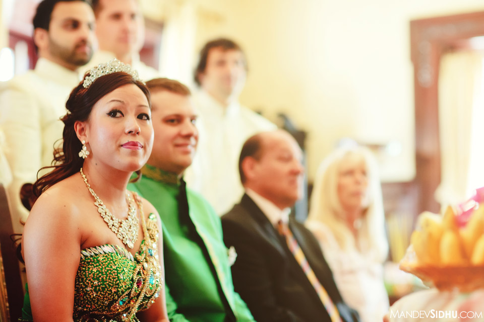 cambodian bride wearing traditional green silk dress