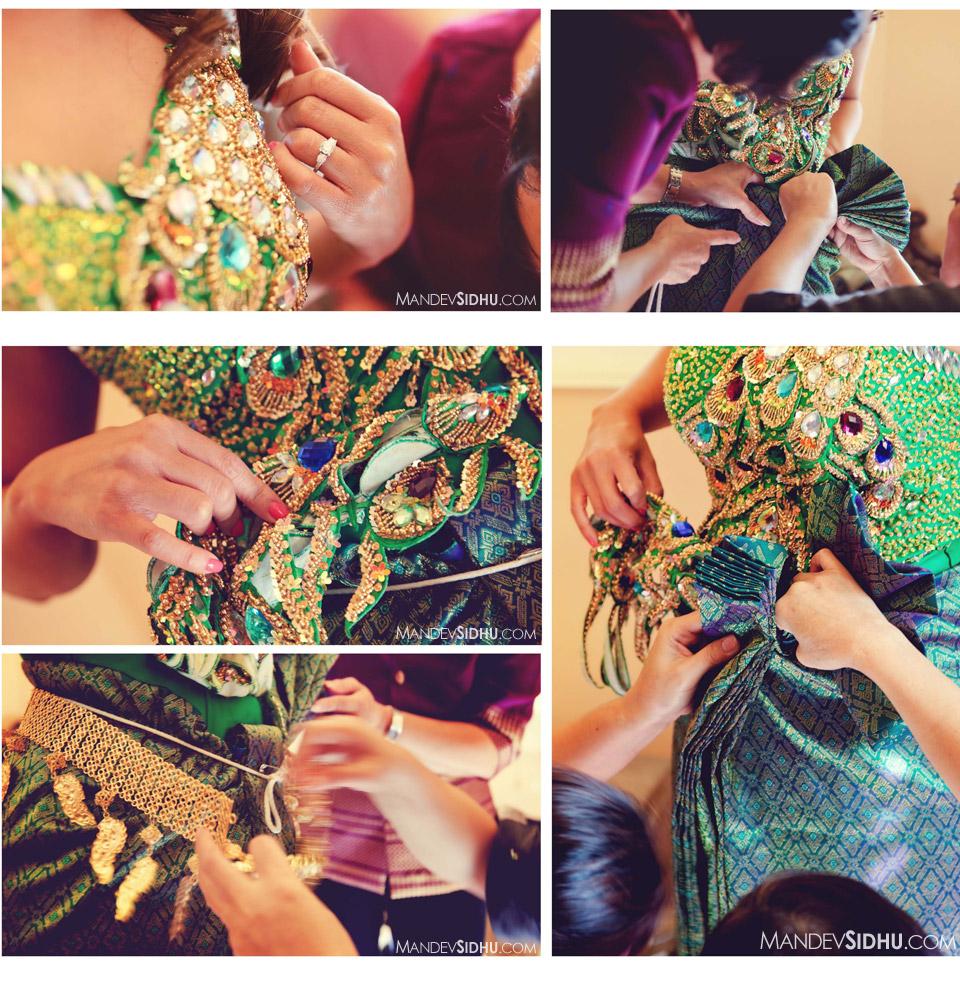 cambodian bride's green wedding dress