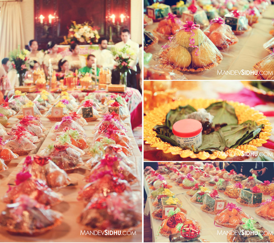 fruits and gifts brought to the khmer ceremony by the groom's family