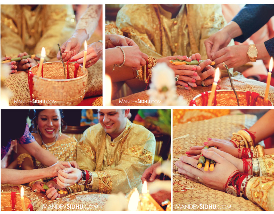 bride and groom during knot-tying ceremony at Cambodian Khmer Wedding