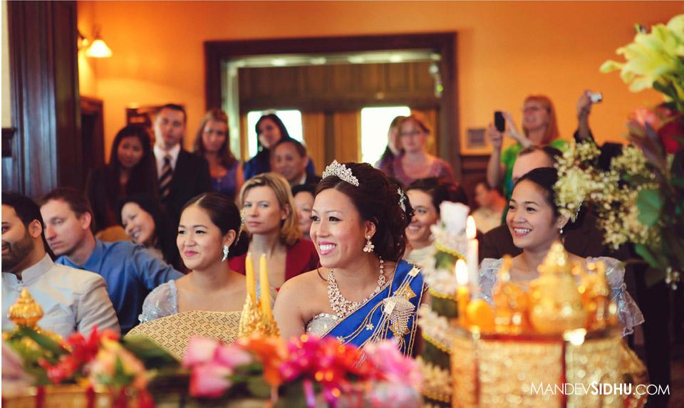 smiling chinese cambodian bride during khmer wedding