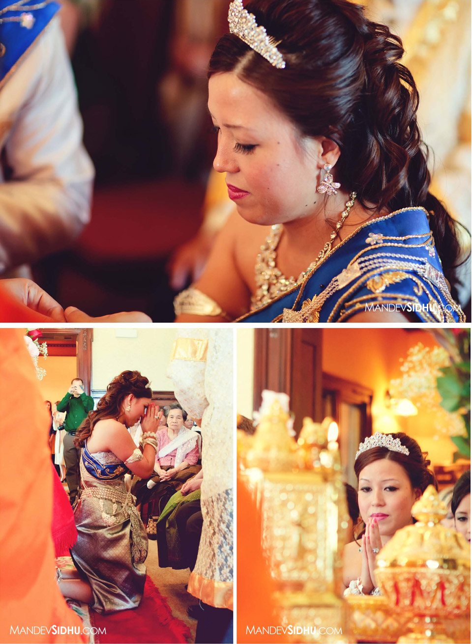 Chinese-Cambodian bride honoring parents during khmer ceremony