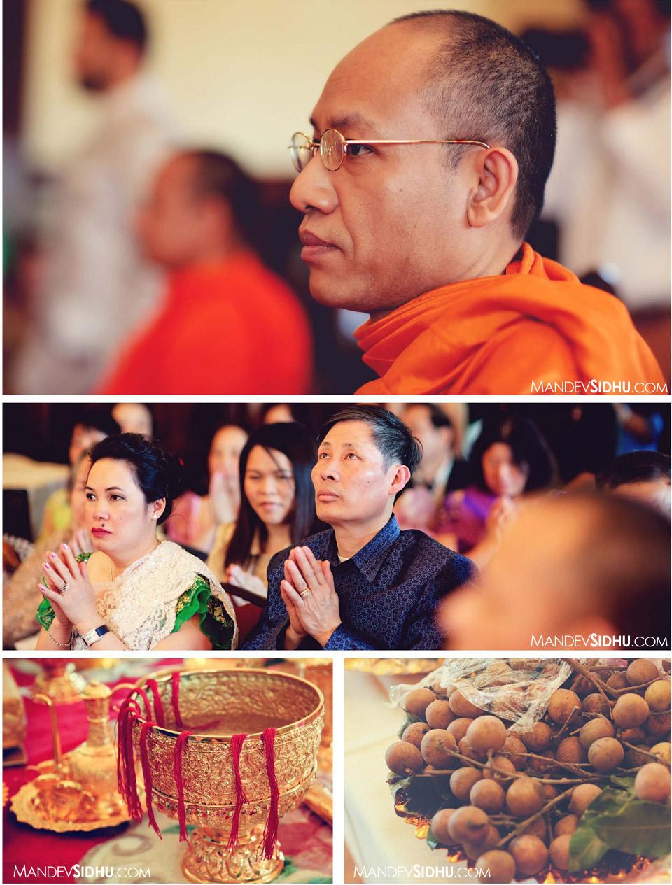 monks blessing khmer wedding ceremony