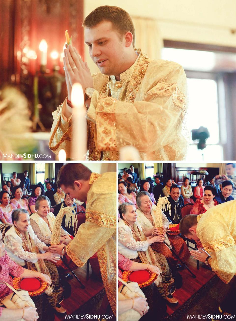 groom honoring grandparents during khmer wedding