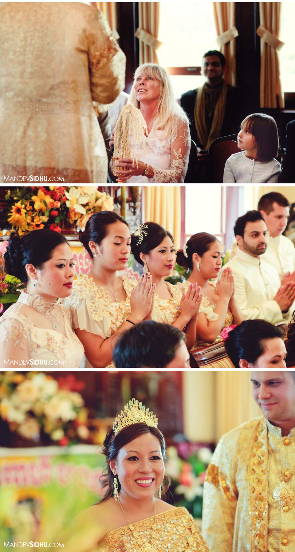 Parents and bridesmaids at traditional Cambodian wedding