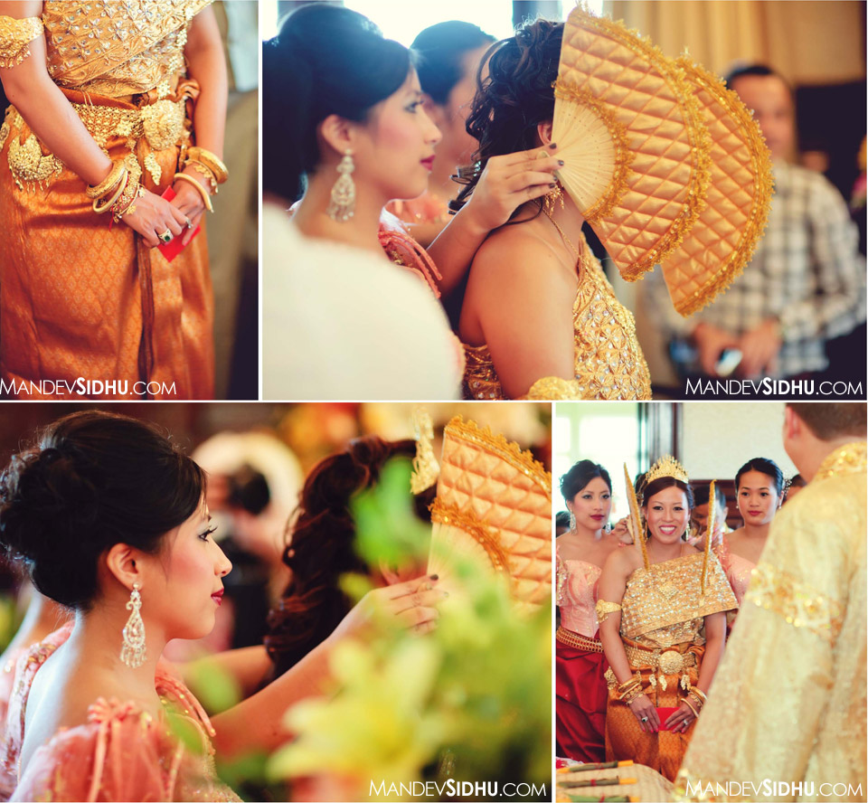 brides entrance for pairing ceremony at Cambodian-Khmer wedding