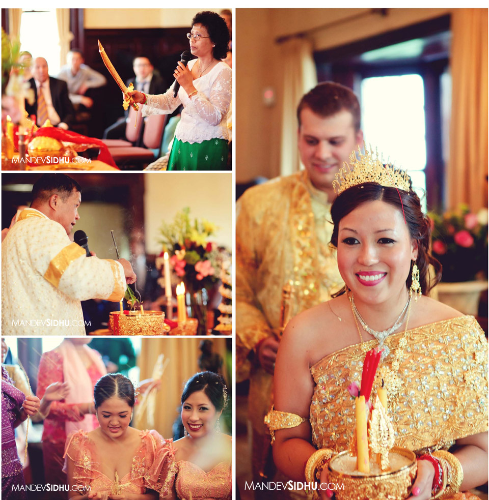 Cambodian bride and groom during pairing ceremony
