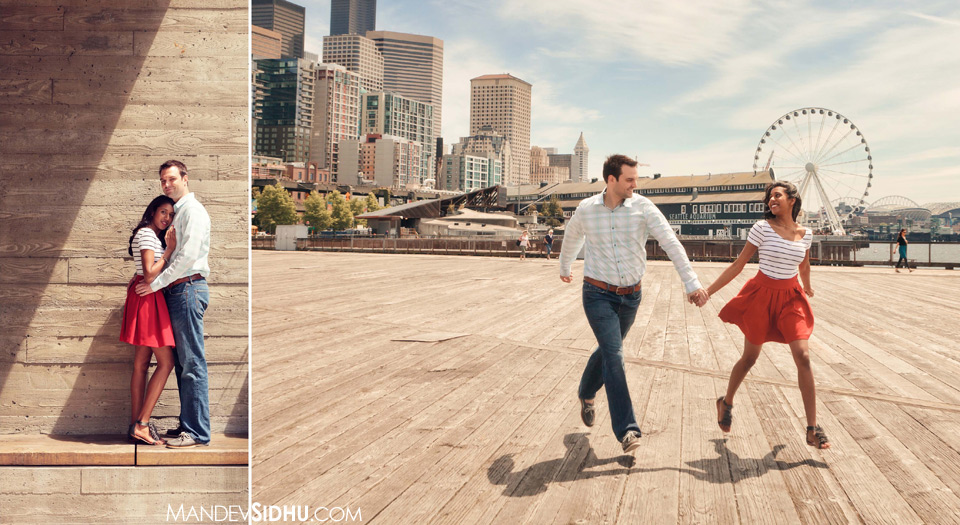 running on wooden pier at the Seattle Waterfront, ferris wheel and seattle skyline in the background