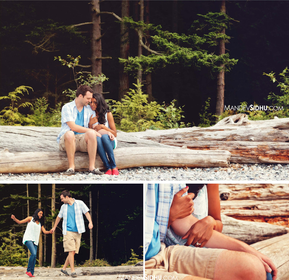 sitting and walking on logs at Deception Pass State Park
