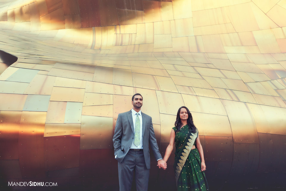 Seattle center engagement photo at Experience Music Project