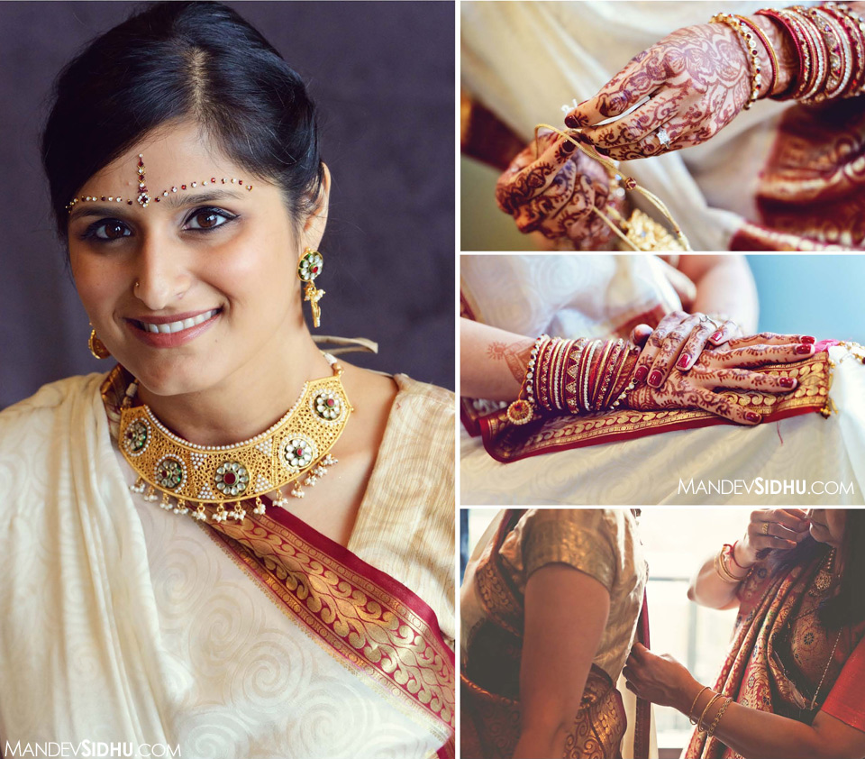 Gujarati Bride in Red White wedding lehenga