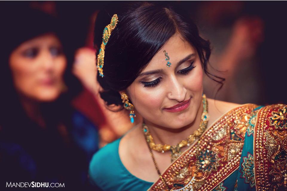 Gujarati Bride wearing blue Lehenga