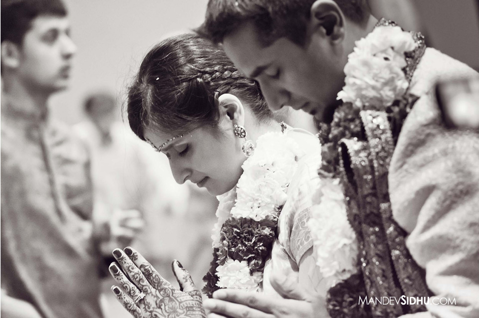 Indian Bride and Groom pay respect to Elders at Hindu Wedding Ceremony