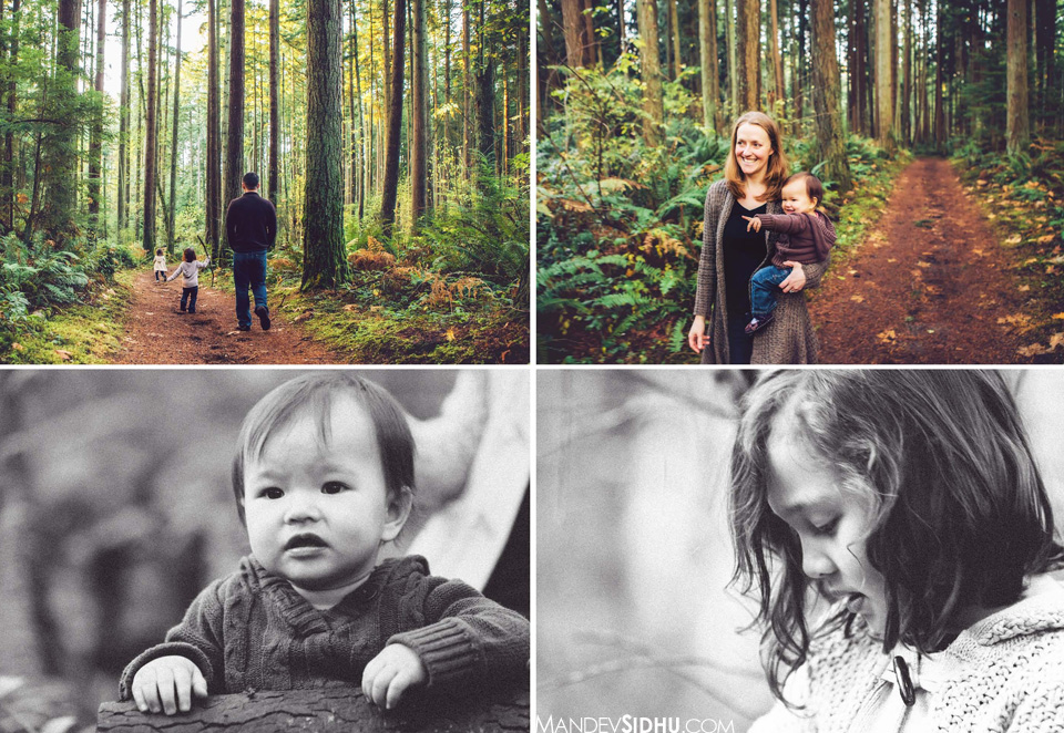 family photos in the trees near Kirkland, WA