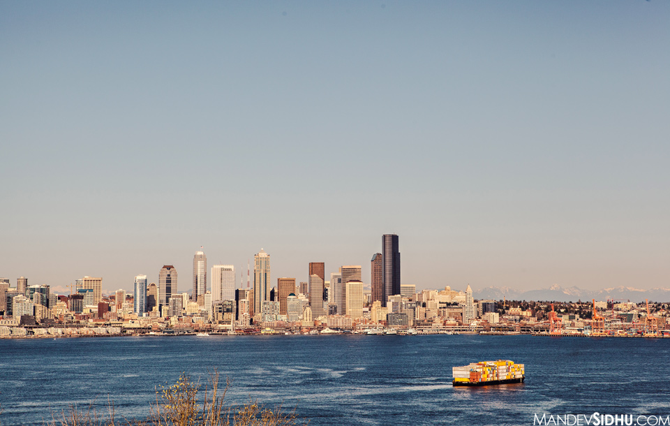 West Seattle Skyline on a sunny day