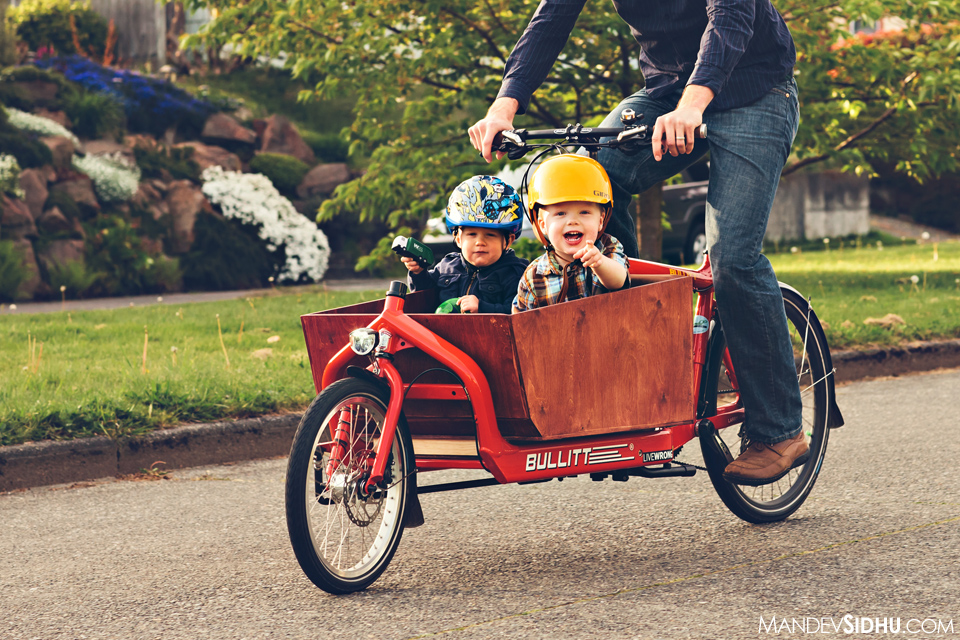 laughing boys in the Cargo Bike