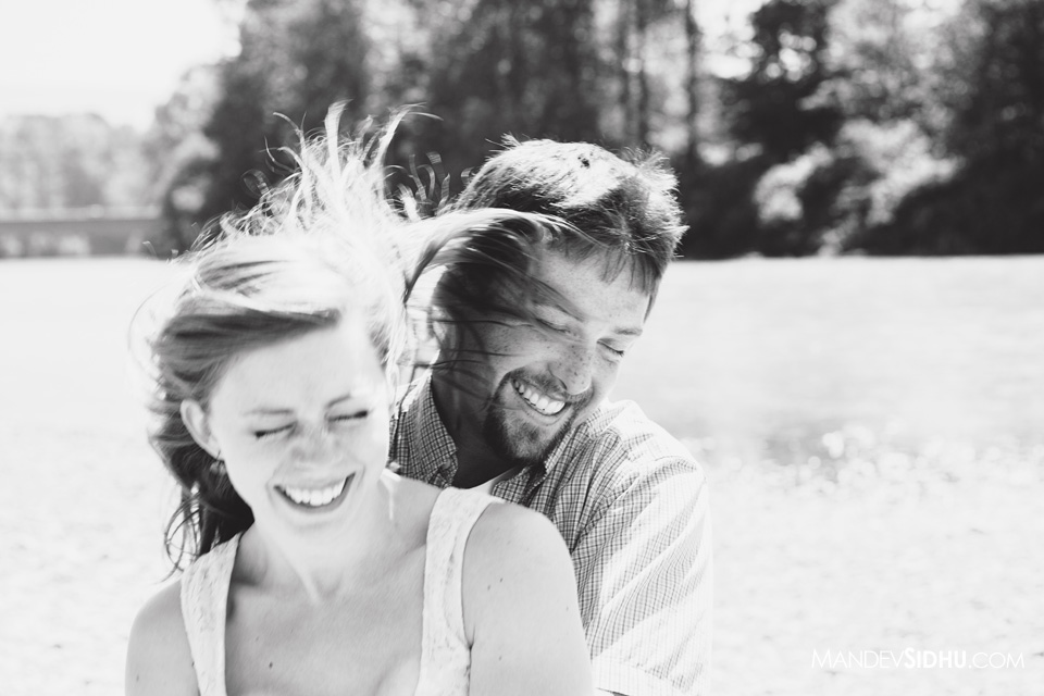 happy laughing engagement photo