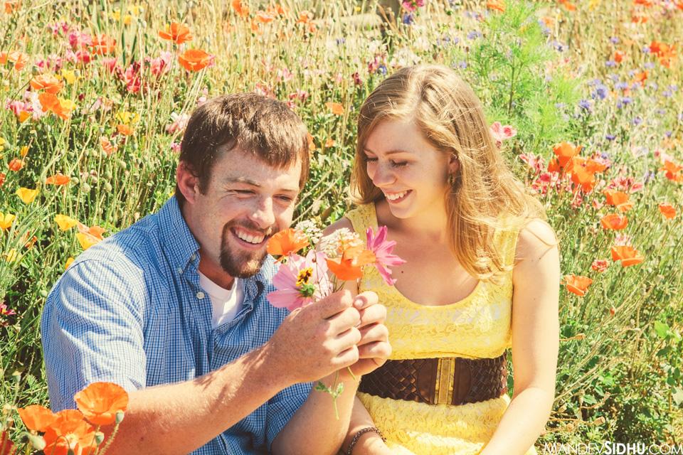 making a bouquet for his fiancé