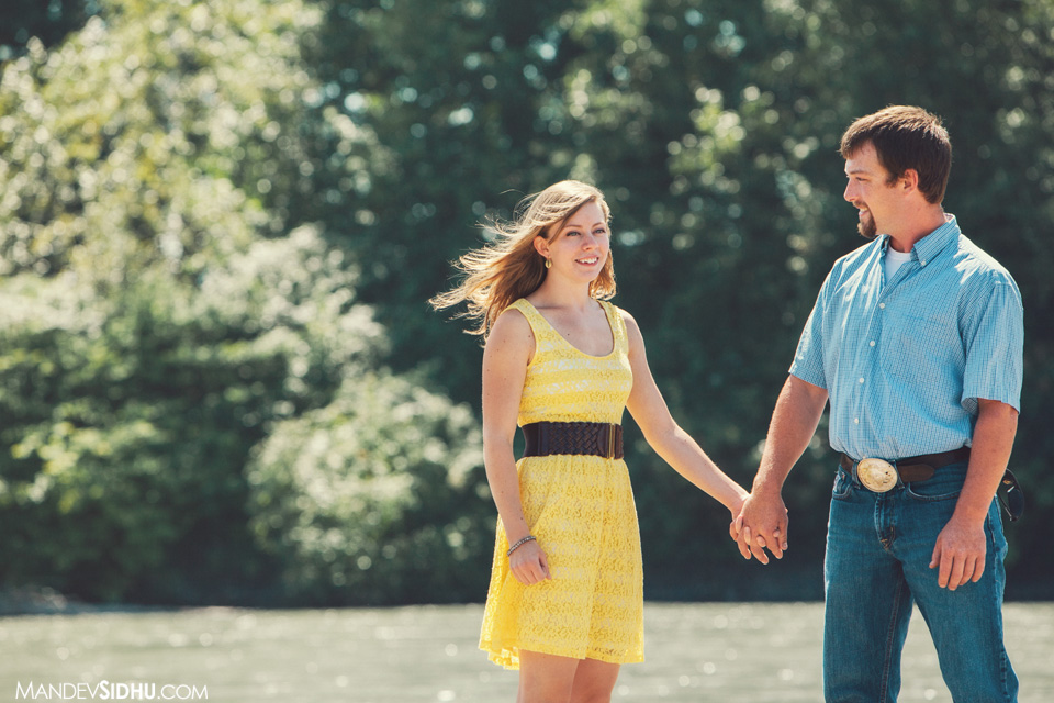 standing by the river bellingham engagement photo beautiful couple