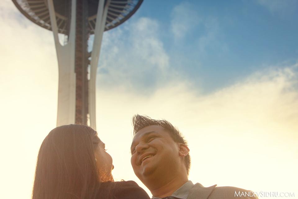 Happy couple near the Space Needle