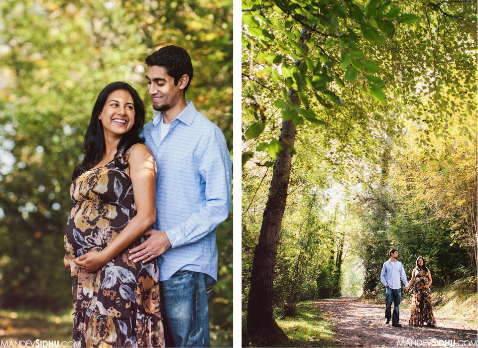 maternity photos in the park with fall leaves