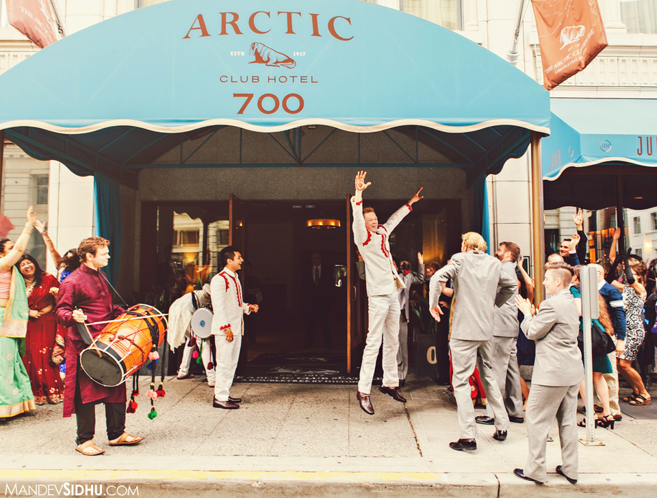 Baraat in downtown Seattle Arctic Club
