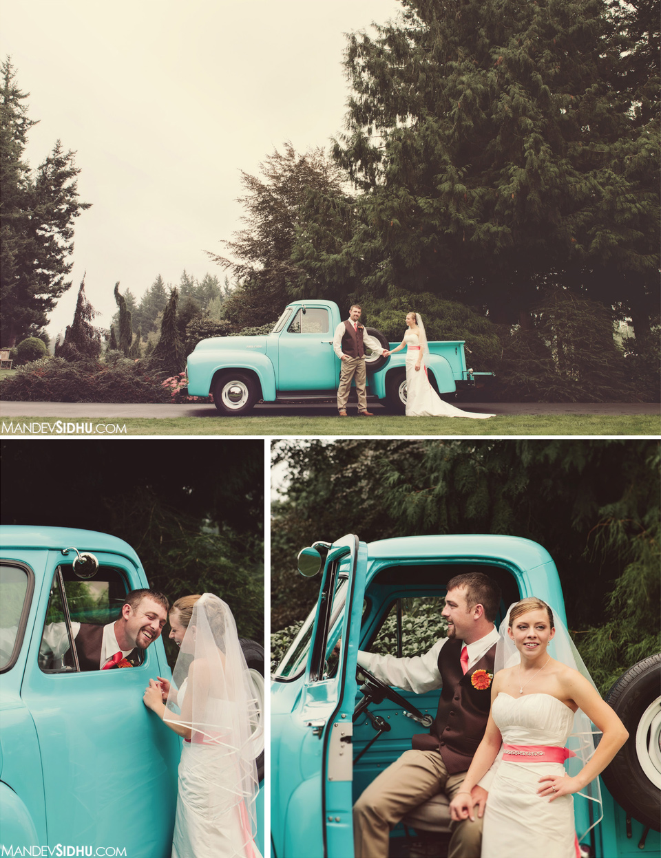 Bride Groom portraits with antique vintage pickup truck