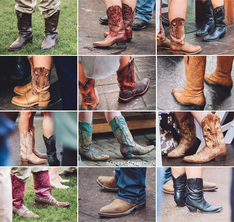 cowboy and cowgirl boots at country-inspired outdoor wedding in Whatcom County