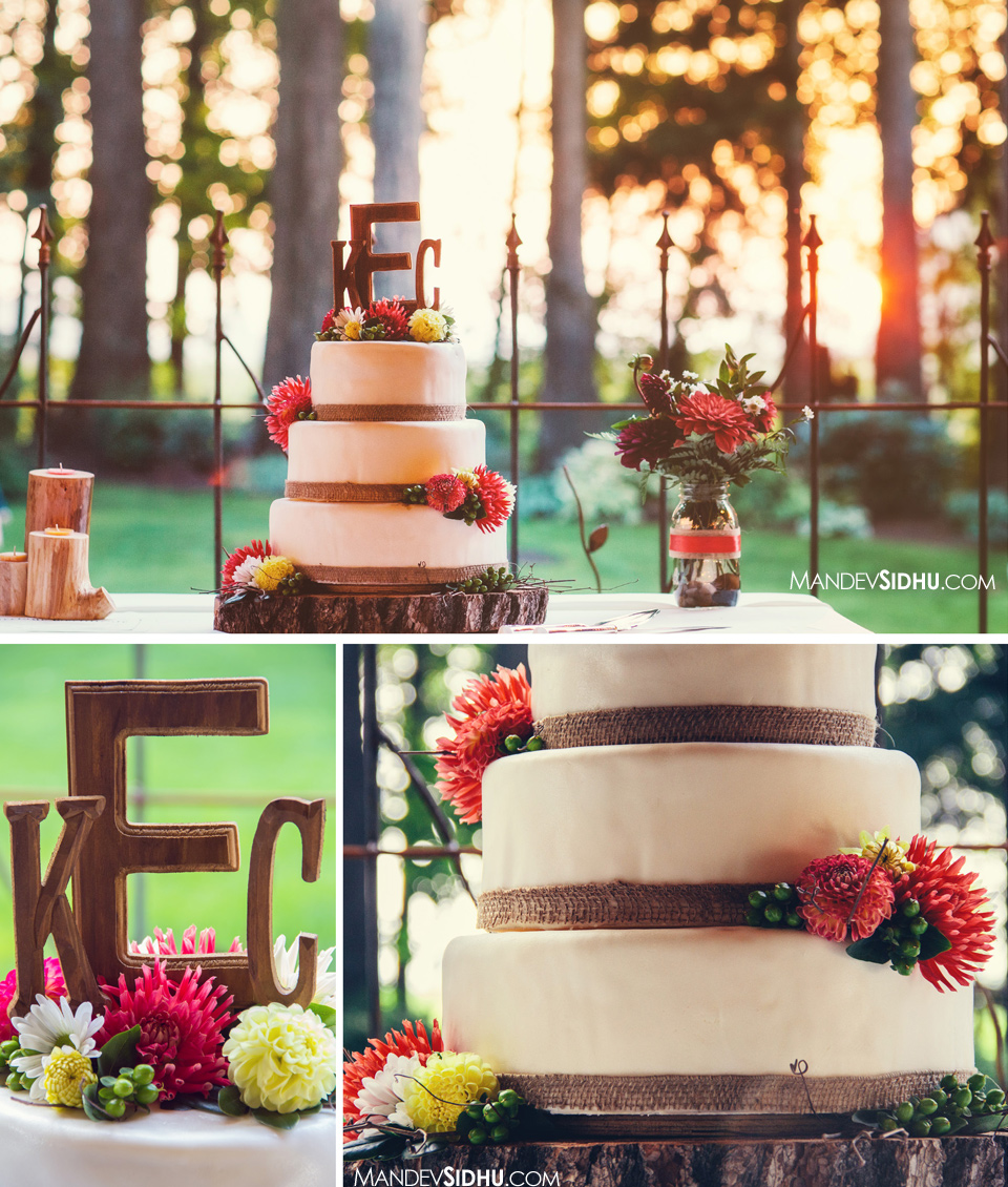 cake photos outdoor reception Evergreen Gardens